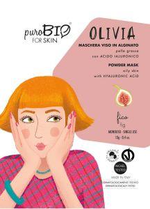 Olivia - Maschera viso in Alginato per Pelle Grassa con Acido Ialuronico - PuroBio