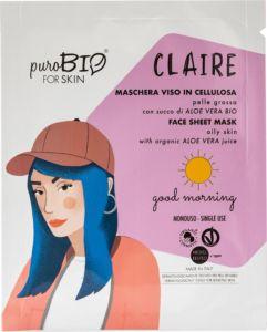 Claire  Maschera Viso in cellulosa per pelle grassa - PuroBio