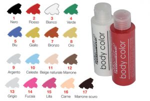 Colori per body painting in cerone liquido idrosolubile